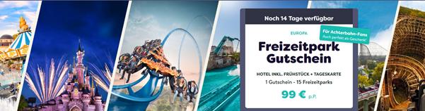 Bild zu Freizeitparkgutschein (für 15 Parks) inkl. 1-2 Übernachtungen sowie 1-2 Tage Eintritt für 99€
