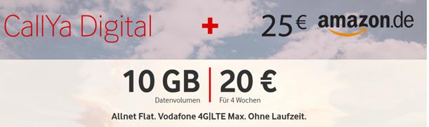 Bild zu [Super] Vodafone CallYa Digital (10GB LTE Datenflat), SMS & Sprachflat für 20€/4 Wochen + 25€ Amazon.de Gutschein als Prämie