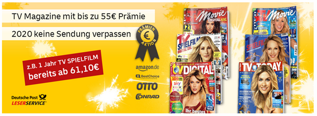 Bild zu Leserservice Deutsche Post: TV-Zeitschriften stark vergünstigt, so z.B. Jahresabo der TV Spielfilm für 56,10€ mit einer 55€ Prämie