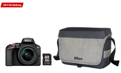 Bild zu NIKON D3500 Spiegelreflexkamera, 24.2 Millionen Pixel, 18-55 mm Objektiv, Schwarz + Kameratasche ab 299€