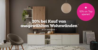 Bild zu Mömax: 20% Rabatt auf ausgewählte Wohnwände + 10% Extra-Rabatt