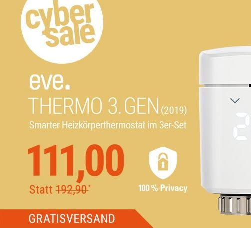 Bild zu 3er-Pack Eve Thermo 3. Gen (2019) Smartes Heizkörperthermostat für nur 111,- Euro (VG: 179,95€)