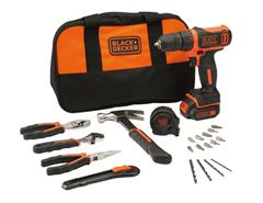 Bild zu BLACK+DECKER Akku-Bohrschrauber + Werkzeug-Set für 51,99€ (VG: 89,95€)