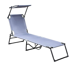 Bild zu Hengda Sonnenliege klappbar mit Sonnendach (bis 110kg belastbar) für 33,59€ oder Doppelpack für 54,59€