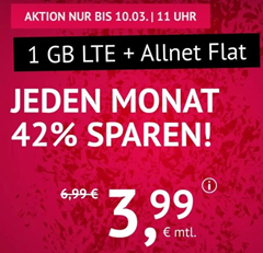 Bild zu [noch bis 11 Uhr] 1GB LTE Datenflat und SMS- und Allnet Flat im o2 Netz für 3,99€ im Monat + keine Anschlussgebühr