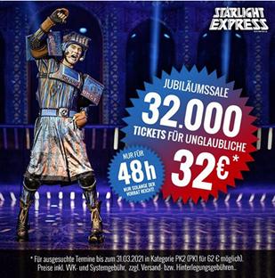 Bild zu [bis Mitternacht] 32.000 Starlight Express Tickets für 32€