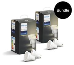 Bild zu 4er Pack Philips Hue White Ambiance GU10 5,5W Bluetooth für 48€ (Vergleich: 73,14€)