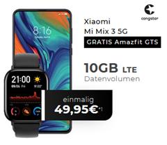 Bild zu Xiaomi Mi Mix 3 5G + gratis Amazfit GTS Watch für 49,95€ mit 10GB LTE Datenflat, SMS und Sprachflat im Telekom Netz (Congstar) für 25€/Monat
