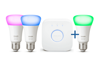 Bild zu Philips Hue White and Color Ambiance LED Starter Kit 3 x E27 + Bridge Bluetooth für 88,99€ (VG: 117,99€)