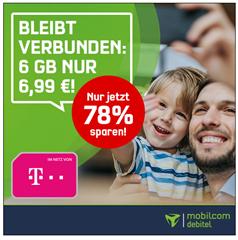 Bild zu [Knaller – endet um 13 Uhr] Telekom Allnet Flat (Telefonie) inklusive 6GB LTE Datenflat für 6,99€ im Monat