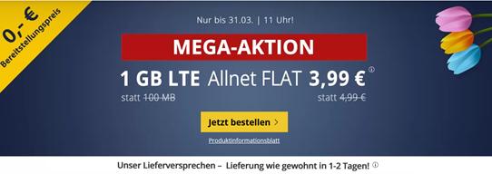 Bild zu 1GB LTE Datenflat und SMS- und Allnet Flat im o2 Netz für 3,99€ – keine Anschlussgebühr & monatlich kündbar