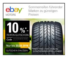 Bild zu eBay: 10% Rabatt auf zahlreiche Sommerreifen