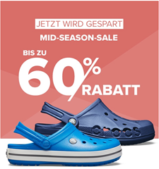 Bild zu Crocs: Mid-Season Sale mit bis zu 60% Rabatt + 10% Extra Rabatt