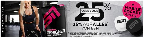 Bild zu Fitmart: 25% Rabatt auf alle ESN Produkte + gratis Mobile Socket