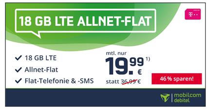 Bild zu [endet heute] Telekom green LTE mit 18GB LTE Datenflat, SMS und Sprachflat für 19,99€/Monat