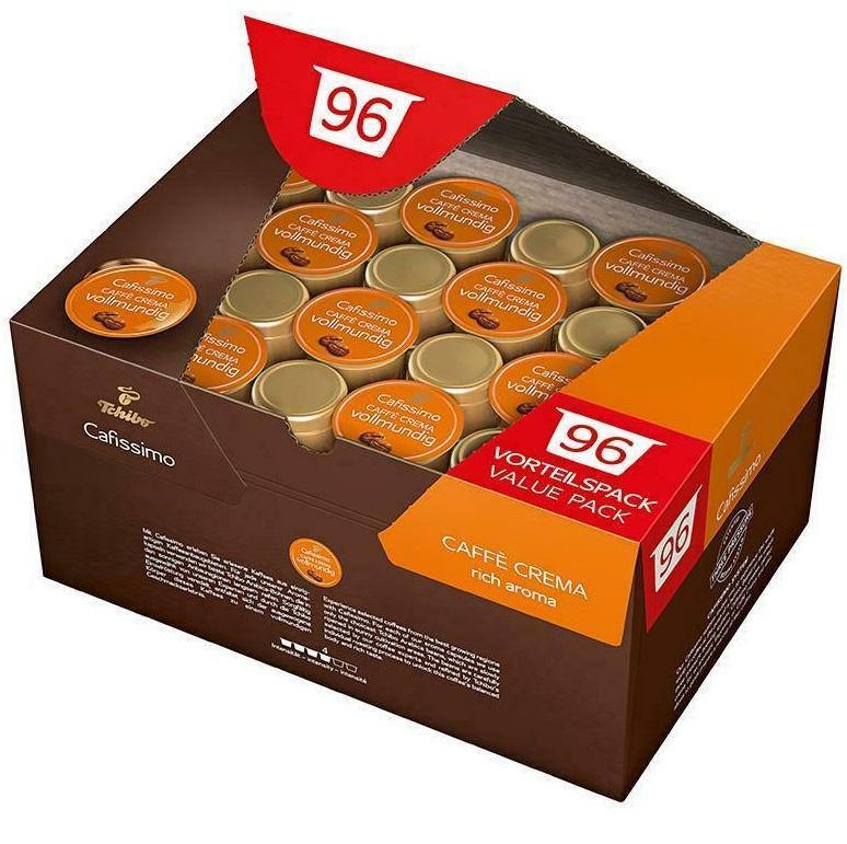 Bild zu 96 Stück Tchibo Cafissimo Caffè Crema Kapseln für 20,31€ (Vergleich: 23,90€)