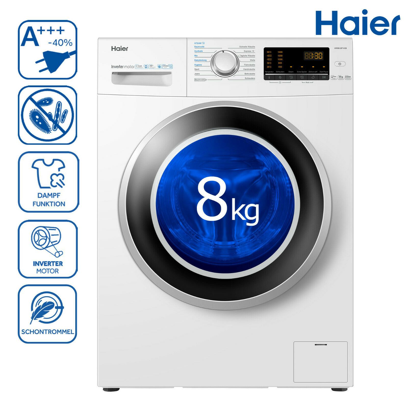 Bild zu 8 kg Waschmaschine Haier HW80-BP1439 für 279,90€ (Vergleich: 412,37€)