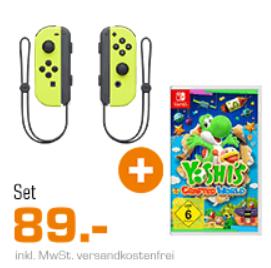 Bild zu Yoshi's Craftes World + 2-er Set Nintendo Switch Joy-Con für 89€ (Vergleich: 111,79€)