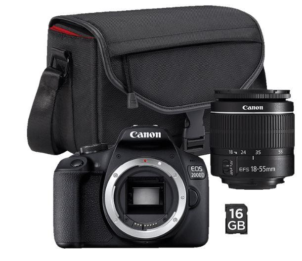 Bild zu CANONEOS 2000D inkl. SB130 und 16GB Spiegelreflexkamera 24.1 Megapixel mit Objektiv 18-55 mm für 249€ (VG: 345,99€)