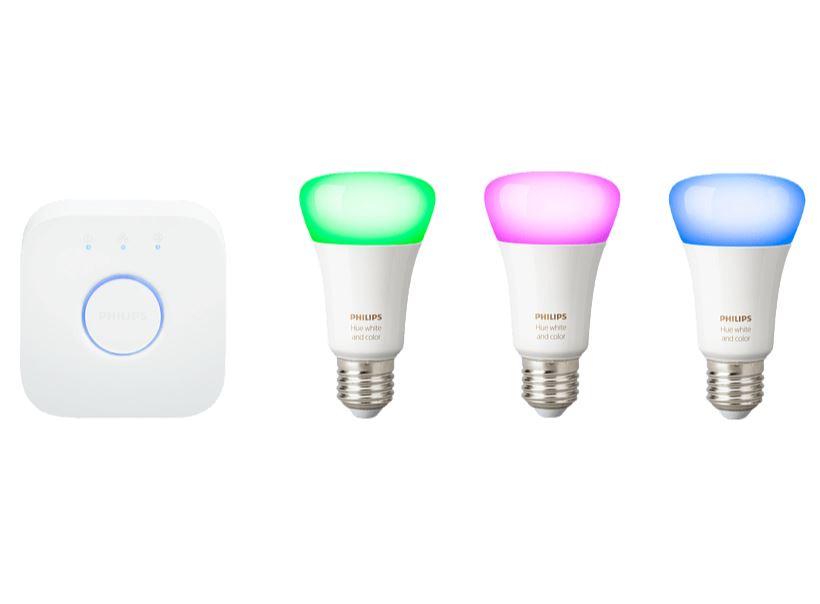 Bild zu PHILIPS Hue White & Col. Amb. E27 Starter Set Bluetooth LED Leuchtmittel, Weiß für 99€ (VG: 134,99€)