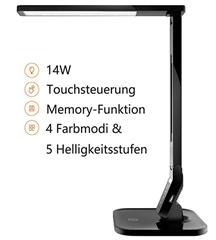 Bild zu TaoTronics Tischlampe/Bürolampe dimmbar mit 4 Farbmodi & 5 Helligkeitsstufen für 19,99€