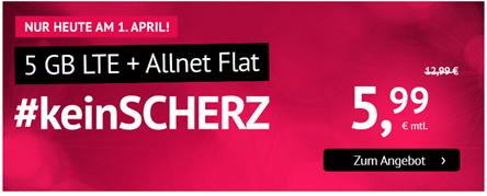 Bild zu [Top und nur heute] Handyvertrag.de: 5GB LTE Datenflat + Allnet Flat im o2 Netz für 5,99€/Monat – monatlich kündbar
