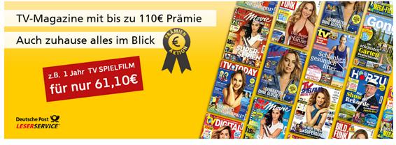 Bild zu TV Zeitschriften günstig beim Leserservice der Post, so z.B. TV Digital für 60€ mit 60€ Prämie