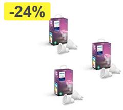 Bild zu Philips Hue GU10 White & Color Ambiance (Bluetooth) – 6er Pack (3×2) für 179€