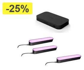Bild zu Philips Hue Play Lightbar Doppel Pack + Erweiterung + Hue Play HDMI Sync Box für 319€