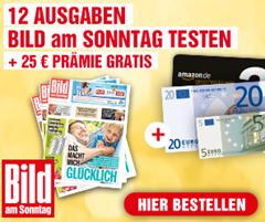 Bild zu 12 Ausgaben Bild am Sonntag für 27,60€ + 25€ Prämie (z.B. Amazon)
