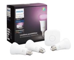 Bild zu [nur bis 15.30 Uhr] Philips Hue E27 White und Color Ambiance Starter-Set mit 3 x E27 Lampen sowie der Hue Bridge für 89€ (Vergleich: 139€)