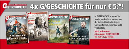 """Bild zu 4 Ausgaben der Zeitschrift """"G/Geschichte"""" für 5,20€ (statt 24,40€)"""