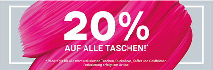 Bild zu Deichmann: 20% Rabatt auf alle nicht reduzierten Taschen, Rucksäcke, Koffer & Geldbörsen