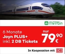 Bild zu [nur noch heute] MyTrain: 3 Monate Joyn+ und eine einfache Fahrt mit der DB (ICE etc.) für 34,90€ oder zwei einfache Fahrten inkl. 6 Monate Joyn+ für 59,90€