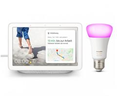Bild zu Google Nest Hub + Philips Hue White & Color Ambiance E27 Bluetooth für 109,95€ (Vergleich: 157,57€)