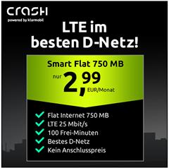 Bild zu [wieder da] Crash Tarif im Telekom-Netz mit 750MB LTE Datenflat + 100 Freiminuten für 2,99€/Monat (keine Anschlussgebühr)