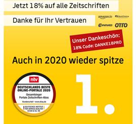 Bild zu 18 Jahre Deutsche Post Leserservice mit 18% Rabatt auf alle Zeitschriftenabos, so z.B. Hörzu für 98,07€ mit 95€ Prämie