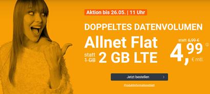 Bild zu monatlich kündbarer Vertrag im o2-Netz mit 2GB LTE Datenflat, SMS und Sprachflat für 4,99€/Monat