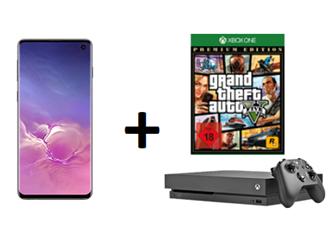Bild zu [Knaller] Samsung S10 inkl. Xbox One X mit GTA5 für 1€ (VG = ~ 960€) mit 6GB LTE Datenflat und Sprachflat im Vodafone oder Telekom Netz für je 26,99€/Monat