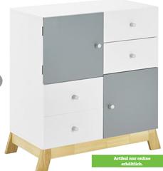 Bild zu [ausverkauft] Kinderkommode in Weiß/ Kieferfarben/Hellgrau 'Brian' für 26,47€