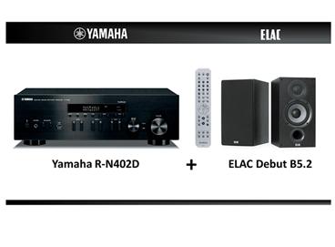 Bild zu YAMAHA ELAC Stereo HiFi Paket (2 Kanäle, 140 Watt pro Kanal, Schwarz) bestehend aus Receiver und Boxen für 499€ (VG: 619€)