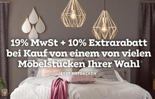 Bild zu Mömax: 19% MwSt. sparen + 10% Extrarabatt beim Kauf von Möbeln