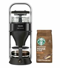 Bild zu Philips HD 5408/60 Café Gourmet Kaffeemaschine + 200g STARBUCKS® House Blend Filterkaffee für 77€ (Vergleich: 101,03€)