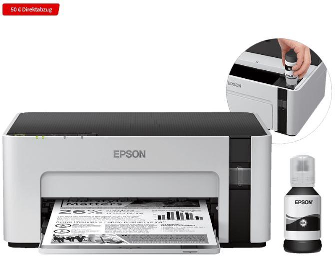 Bild zu EPSON EcoTank ET M1120 Tintenstrahl Drucker WLAN für 129€ (VG: 147,90€)