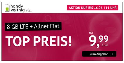 Bild zu 8GB LTE Datenflat + Allnet Flat im o2 Netz für 9,99€/Monat–monatlich kündbar