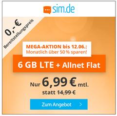 Bild zu [Top – nur noch heute] 6GB LTE Datenflat, SMS und Sprachflat im o2 Netz für 6,99€/Monat – monatlich kündbar