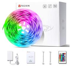 Bild zu TECKIN LED Streifen RGB 5m (inkl. Fernbedienung und Netzteil, Selbstklebend) für 11,89€