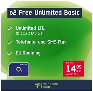 Bild zu [Super] o2 Free Unlimited Basic (unbegrenzt LTE mit 2Mbit/s, Telefon und SMS Flat) für 14,99€ im Monat