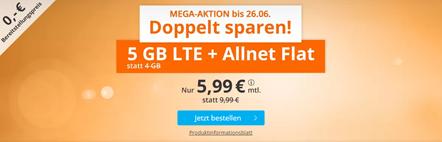 Bild zu [Top – wieder da] Sim.de: o2-Netz mit 5GB LTE Datenflat, SMS und Sprachflat für 5,99€/Monat – optional monatlich kündbar