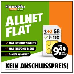 Bild zu 5GB LTE Datenflat mit SMS Flat sowie Sprachflat im Telekomnetz für 9,99€ im Monat (auch größere Pakete buchbar) – bis Sonntag kein Anschlusspreis